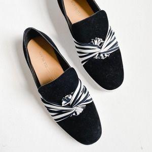 All Black Suede Stripe Knot Slip On Sneakers